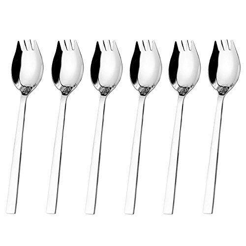 Hiware Sporks 6pack 18/10 Stainless Steel Sporks for Everyday Household Use 76Inch / 16Ounce/Ice Cream Spoon amp Salad Forks Fruit Appetizer Dessert