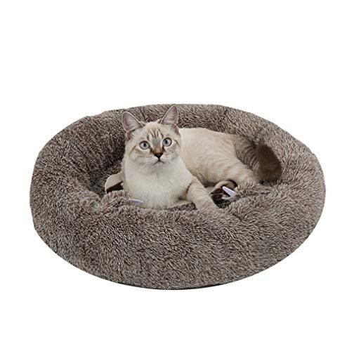 TFEL Cama Perros Redonda,Cama de cojín mullida y Relajante para Gatos y Perros, Fondo Impermeable Lavable a máquina,Adecuado para pequeños y medianos