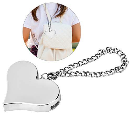130DB Herzform Persönliche Sicherheit Alarm Keychain Notfall Selbstverteidigung Sirene für Frauen Kinder(Silver)