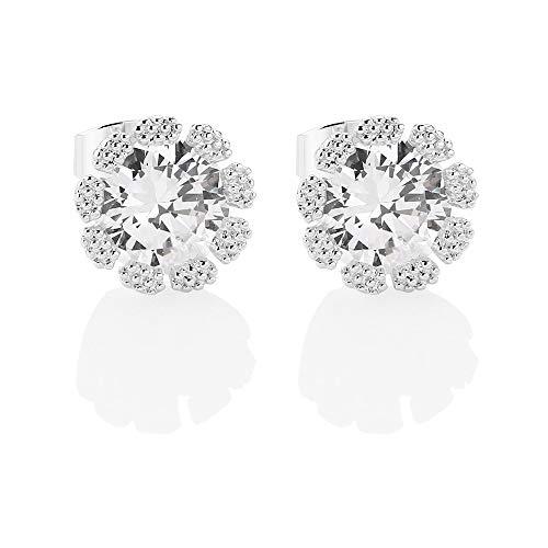 Newbridge Silverware Small Flower Clear Stone Earrings