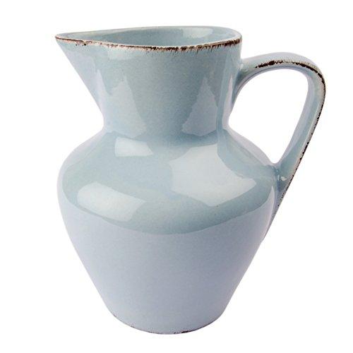 Gina Da Krug Kanne Keramik Jug Karaffe Blau Rosa Weiß - Serie Tosca - 18,5x15cm Shabby Chic Landhaus (Blau)