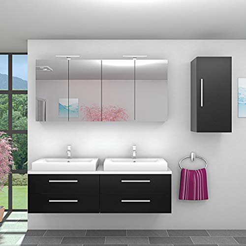 AcquaVapore Badmöbel Set City 201 V2 Esche schwarz, Badezimmermöbel, Waschtisch 160 cm NEIN ohne LED-Beleuchtung
