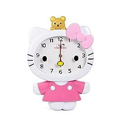 BOWDOR Cute Cartoon Hello Kitty Anime Children Clock KT Cat Sham Mute Creative Wall Clock (Pink)