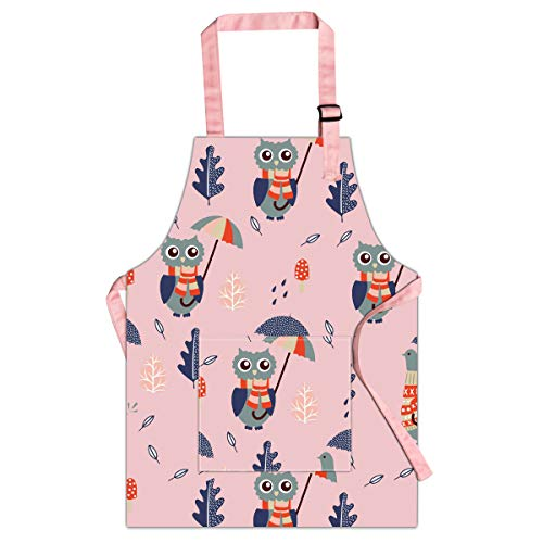 AUBEY Schürze Kinder, 6 bis 12 Jahre alt Kinderschürze Baumwolle, Kinder Kochschürze Verstellbare mit Tasche, für Malerei Kochen Backen Küche Schule Geschenk, Rosa, L