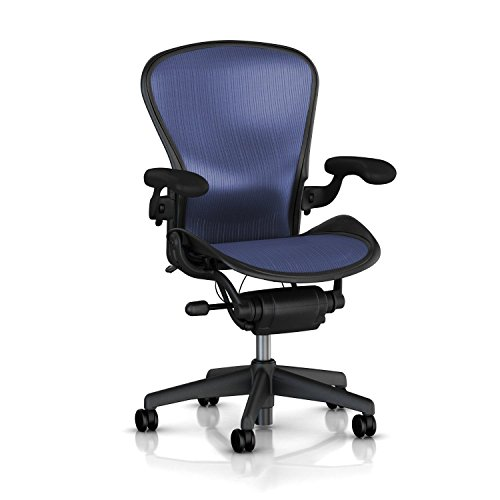 Hot Sale Aeron Chair by Herman Miller - Highly Adjustable - Graphite Frame - Lumbar Pad - Cobalt Classic (Medium)