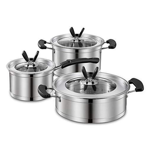 Niveau 3-28 cm Acier Inoxydable 4PC Cuiseur Vapeur Cuisinière Pot Set Pan de cuire les aliments couvercle en verre