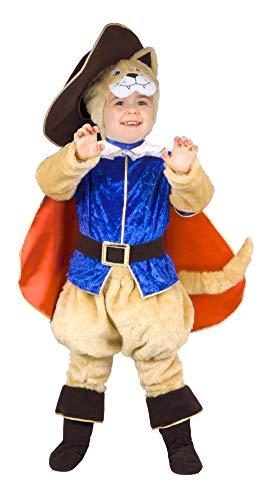 Ciao Disfraz de gato con botas para bebé (2-3 años), beige, azul, 14791.2-3