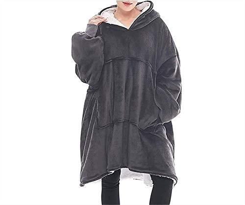 PoJu Manta con Capucha de Gran tamaño Sudadera con Capucha Gigante Manta suéter con Capucha Super Suave para Hombres Mujeres (Color : Gray)