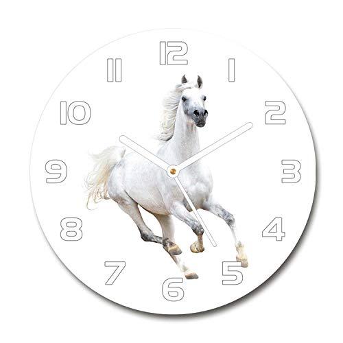 Tulup Redondo Reloj De Pared De Vidrio 60cm Silenciosa Grande Original Moderno Decorativo Manecillas Blancas - Caballo Árabe Blanco