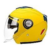 perfeclan Cascos Abatibles para Motocicletas Casco Protector Solar de Doble Visera Casco Integral - Amarillo