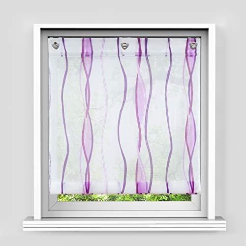 HongYa Raffrollo mit Wellen Druck Transparenter Voile Raffgardine Vorhang mit Hakenösen H/B 140/100 cm Weiß Beere