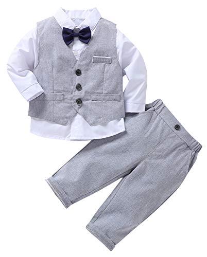 DEMU kinder bekeleiding set baby katoen gentleman lange mouwen pak pants + shirt suit