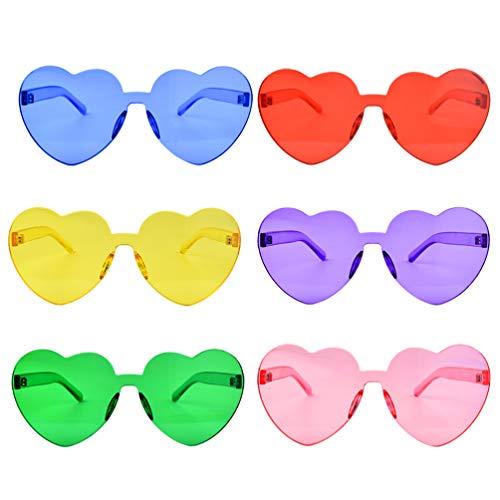Fengek 6 Pcs Heart Shape Sunglasses Frameless Transparent Glasses Party Favors for Girls, Women, 6...