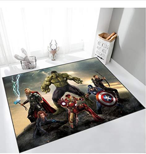zzqiao Teppich Marvel Carpet Avengers Usa Kapitän Spider-Man Iron Man Matten Wohnzimmer Schlafzimmer Badezimmer Rutschfester Teppich 140 * 200Cm