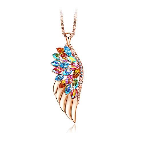 Cestbon Feder Halskette Rose Gold Halskette Damen Kette Schmuck Set Mit Bunte Embellished, Ldeal Mutterstag Valentinstag,Gold