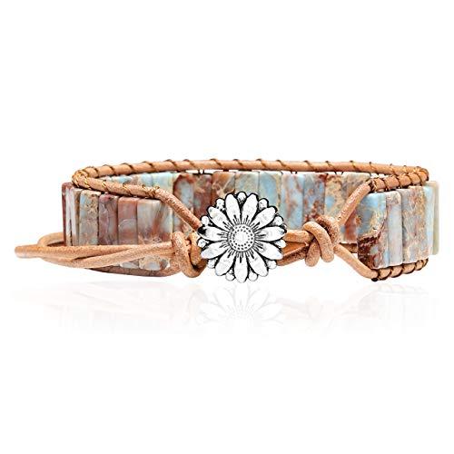 CrystalTears Edelsteine Statement-Armbänder Frauen Damen Armband Gefärbter Meersediment-Jaspis mit Retro Silber Gänseblümchen Schnalle Geflochten Armreif verstellbar