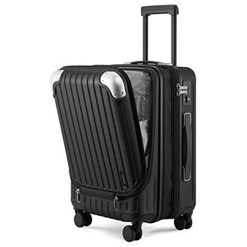 """LEVEL8 Equipaje de Mano 24"""", ABS+PC Expansible Maleta Cabina con Cerradura de Seguridad con Combinación TSA con 8 Ruedas, Maleta para Viajes, Maleta de Cabina 37x55.5x25 cms, 42L, Negro"""