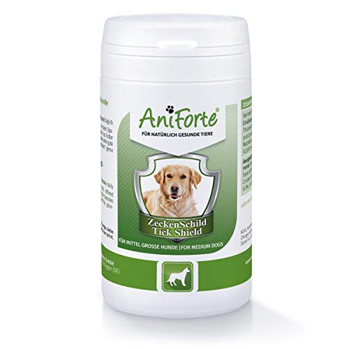 AniForte Tick Shield para Perros (10-35kg) 60 cápsulas. Producto 100% natural. Complejo de Vitamina B que Actúa como Escudo Anti-Garrapatas y Parásitos.