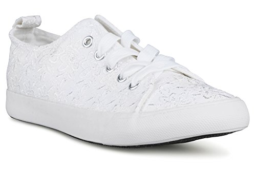 Twisted Women's KIX Lo-Top Embroidered Floral Sneakers -WHITE, Size 11