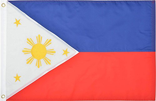 Green Grove Products Philippines Flag 2' x 3' Ft 210D Nylon Premium Outdoor Embroidered Filipino Flag