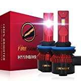 Firehawk 2021 New H11/H8/H9 LED Bulbs, 15000LM Japanese CSP, 400% Brightness, 200% Night Visibility, 6000K Cool White, Pack of 2