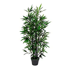 AMERIQUE 4.3 Feet Gorgeous Bamboo Tree Artificial Plant with 6 Black Trunks, in Nursery Pot, Real Touch Technology, 6 Stalks & 996 Leaves, Green