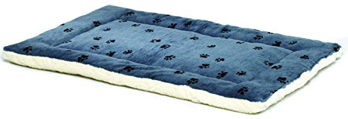 Reversible Paw Print Pet Bed in Blue / White, Dog Bed Measures 21L x 12W x 1.5H for X-Small Dogs, Machine Wash
