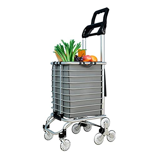 BSJZ Carrito de Compras Plegable autopropulsado, Carrito de Servicio de tránsito de comestibles para Subir escaleras de Aluminio con Rueda giratoria y Bolsa impermea