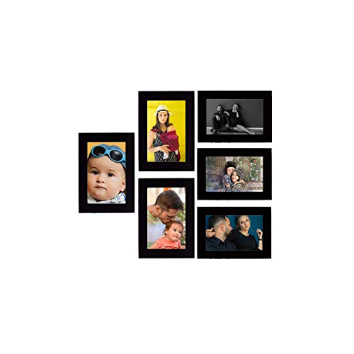 Tonkwalas Collage Individual Photo Frames, Set of 6,Wall Hanging (3 pcs - 4x6 inch, 3 pcs - 6x4 inch) (Half Inch Stick, Plexi Glass, Black)