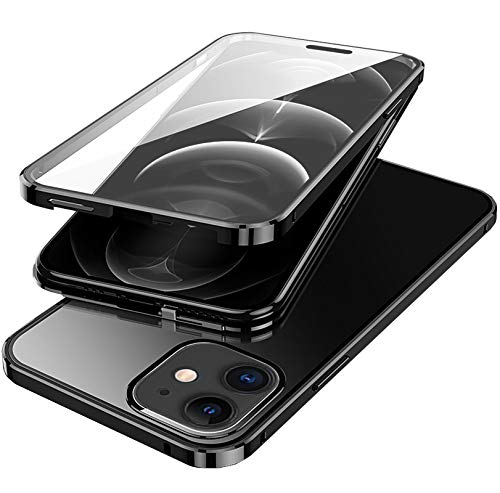 ANAcase iPhone 11 [Magnetic] [Slide Lock] Case [2 Pack],360° Full Protection Clear Tempered Glass Front and Back +2 Pack Ultra Clear Camera Lens Protector, Magnetic and Slide Lock Case Black