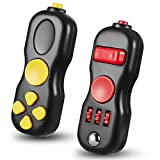 Civaner 2 Pieces Fidget Toy Fidget Pad Handheld Fidget Game Pad Fidget Controller Pad Sensory Toy for Boys Girls and Adults Skin Picking, Anxiety and Stress Relief, ADHD, ADD (Red, Yellow)