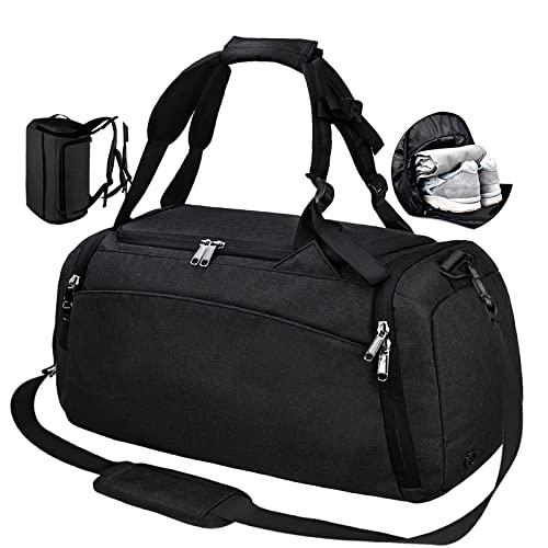 Bolsa Deporte Bolsa Gimnasio de Viaje Impermeable Bolsos Deportivos Fin de Semana Travel Duffle Bag para Hombre y Mujer Negro
