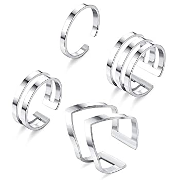 LOYALLOOK 4Pcs 316L Stainless Steel Stackable Knuckle Midi Rings for Women s Minimalist Chevron V Ring Line Adjustable Nail Thumb Ring Set