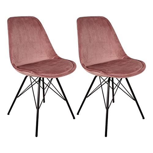 Nimara 2er Set Samt Schalenstuhl in skandinavischem Design | Esszimmerstühle, Wohnzimmer und Küchenstühle | Der perfekte Stuhl für den Esstisch | Retro Stuhl mit Metallbeinen