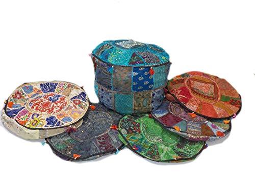 India colors. Puff hindú (Redondo Patch) cojín Funda Bordado Artesanal Hecho a Mano en India. (Tono 6)