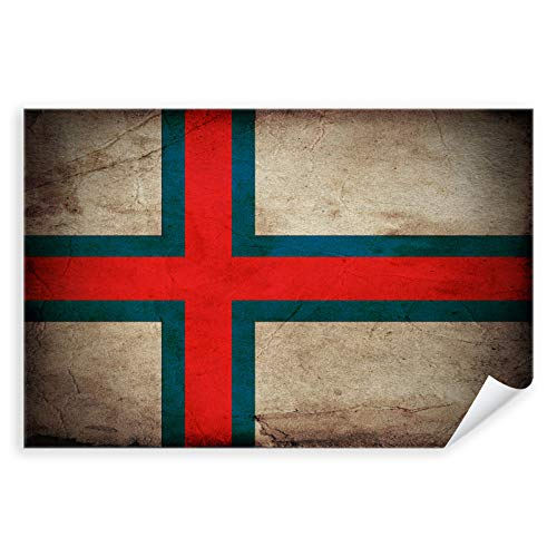 Postereck - 0355 - Vintage Flagge, Fahne Färöer Torshavn - Unterricht Klassenzimmer Schule Wandposter Fotoposter Bilder Wandbild Wandbilder - Poster mit Rahmen - 29,0 cm x 19,0 cm