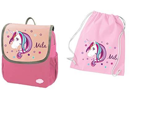 Mijn Zwergenland set 2 kinderdagrugzak en gymtas van katoen Happy Knirps Next met de naam Pink