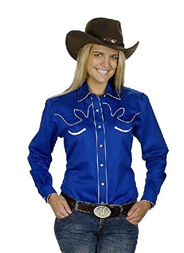 Sunrise Outlet Women's Cotton Retro Western Cowboy Shirt-Royal-Small