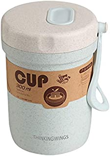 Thinkingwings On the Go Cups Leakproof BPA Free Breakfast Soup To-Go Container, Portable Yogurt Milk Drink Cups with Lid 10 Oz Keep Hot or Cold (Blue)