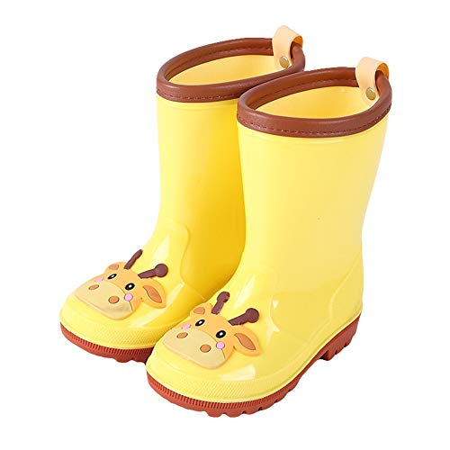 Icegrey Gummistiefel Kinder Jungen Mädchen Regenstiefel Leicht Regenschuhe Wasserdicht Gelbe Kuh 33-34
