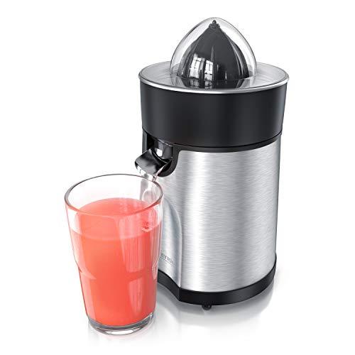 Arendo – Spremiagrumi elettrico in acciaio inox EXTRA silenzioso - 85 W - 2 coni inclusi - Beccuccio antigoccia apri chiudi - Spremi direttamente nel bicchiere - Silenzioso e Senza plastiche BPA