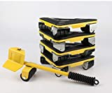 Heavy Duty Furniture Lifter with Triangle Moving Sliders Mover Tool Set Moving Appliance Roller Load for 660lb(300kg) 5 Packs (Yellow)