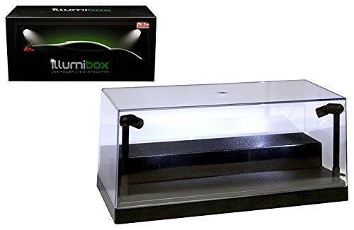 """Illumibox 10"""" USB Power L.E.D. Plastic Showcase with Riser (1:24 & 1:64 Scale Compatible) (Black) - MiJo Exclusives"""