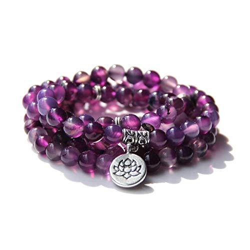 Budismo 108 Beads Pulseras Mujeres Yoga Oración Lotus Charm Pulsera 8 mm Calcedonia natural Pulsera Pulsera agate