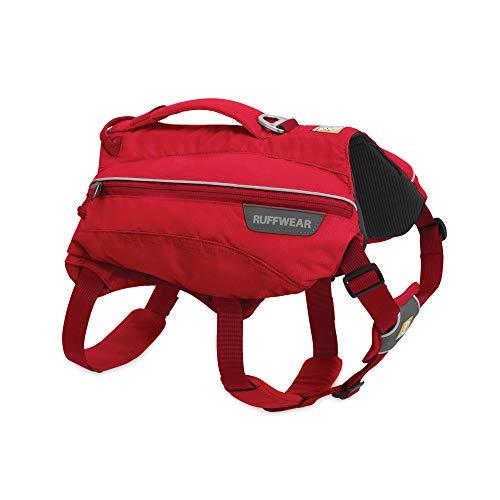 Ruffwear Trinkrucksack für Hunde, Inklusive 2 x 600 ml Wasserflasche, Mittelgroße Hunderassen, Größenverstellbar, Größe: M, Rot (Red Currant), Singletrak Pack