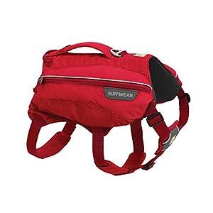 RUFFWEAR, Singletrak Dog Pack, Hiking Backpack with Hydration Bladders, Red Currant, Medium