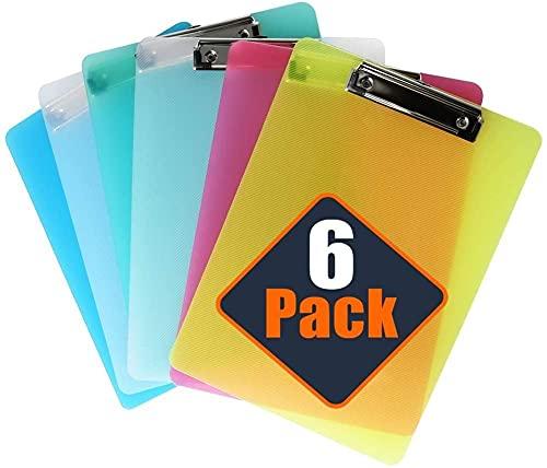 LATERN 6 Stücke Klemmbrett A4 mit gummierter Metalklemme, Schreibbrett DIN A4 mit Aufhängeose, Pad Halter Clipboard - Transparent Kunststoff - Schreibblock Set mit 5 Farben