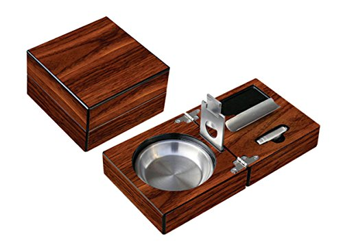 Prestige Import Group - Folding Wood Cigar Ashtray Set w/Cutter - Color: Walnut
