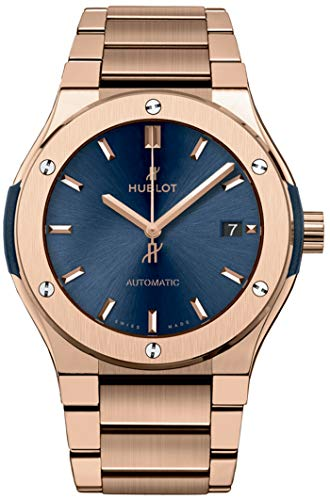 Rose Gold Blue Dial Hublot Classic Fusion Automatic 42mm Mens Watch 548.OX.7180.OX