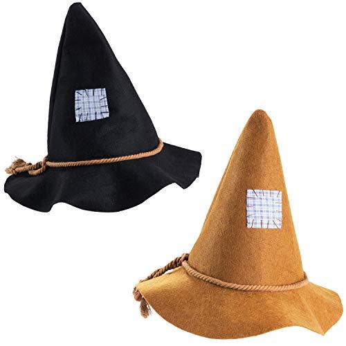 Tigerdoe Scarecrow Hats 2 Pack - Halloween Scarecrow Costume - Felt Scarecrow Accessories